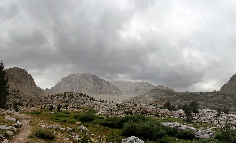 Dark clouds over Mount Whitney as I climb above Timberline Lake on the John Muir Trail