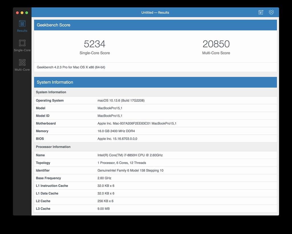 15インチ MacBook Pro 2018 Geekbench NEW