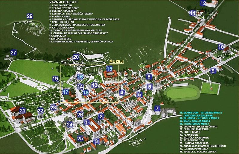 Карта Цетине с туристическими достопримечательностями