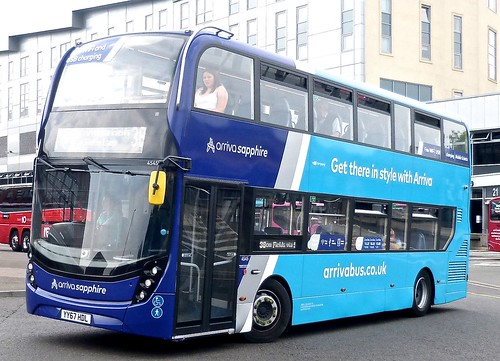 YY67 HDL 'ARRIVA Midlands' No. 4545 'arriva sapphire'. 'Alexander Dennis Ltd'. E40D / 'ADL' Enviro 400MMC /1 on Dennis Basford's railsroadsrunways.blogspot.co.uk'