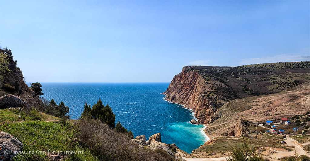 панорама с видом на море со скалы Мотыль (Мытилино)
