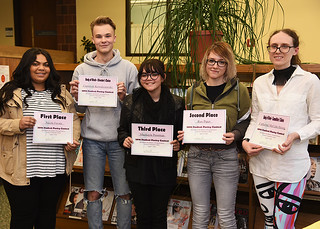 Tue, 04/17/2018 - 13:22 - 2018 GCC Poetry Contest Winners – pictured left to right – Nicole Favata, Cameron Kowalczewski, Mackayla Poorman, Raxel Piper and Catherine McCabe-Strong.
