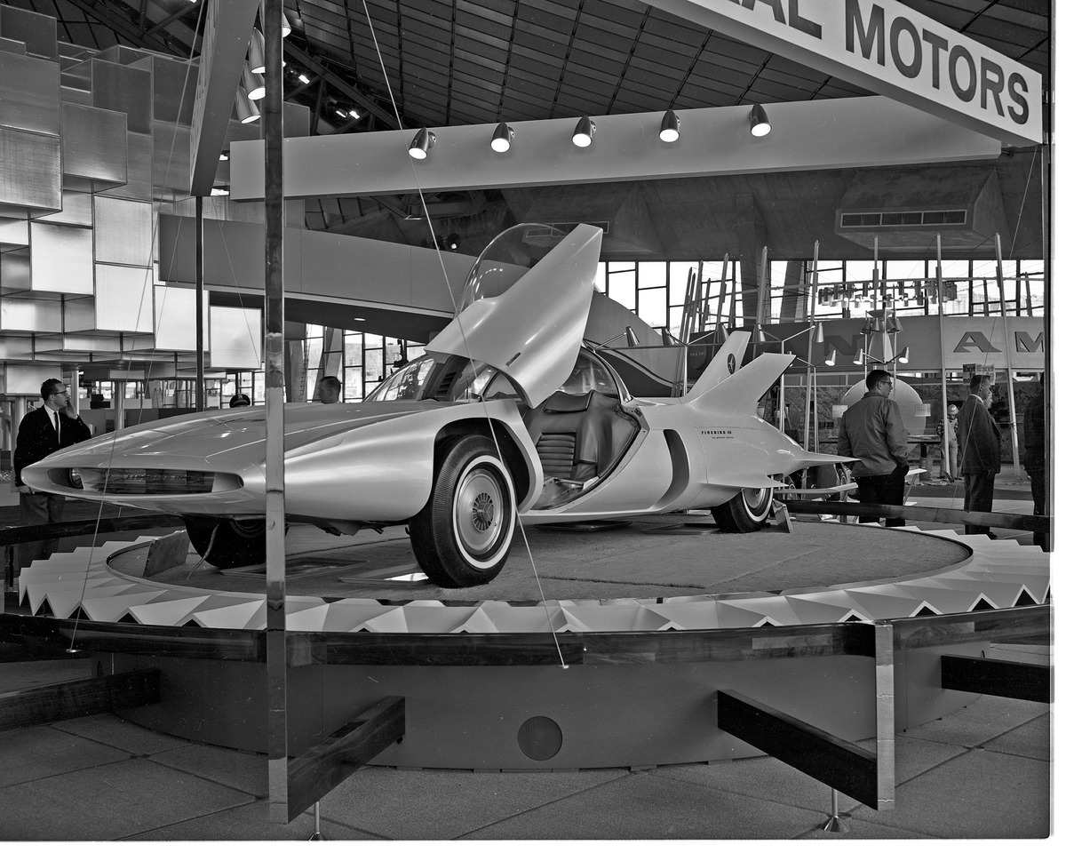General Motors exhibit featuring the Firebird III at Century 21 Exposition (World's Fair), Seattle, Washington. Photo taken on April 20, 1962.