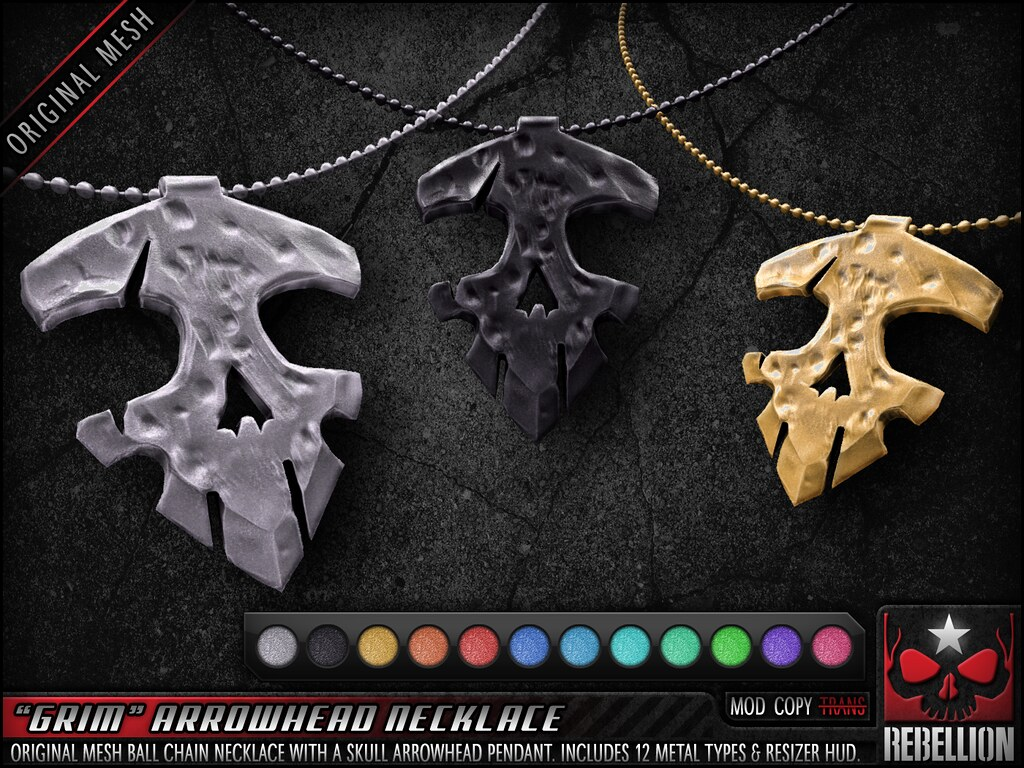 "= REBELLION = ""GRIM"" ARROWHEAD NECKLACE"