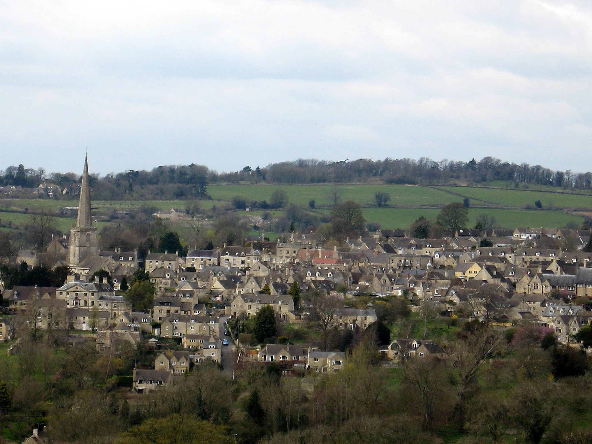 Painswick, Gloucestershire as seen from Longridge, Photo taken in March 2009.