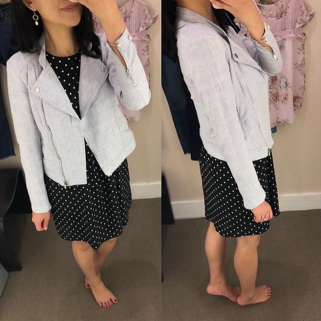 LOFT Linen Cotton Moto Jacket, size XXSP