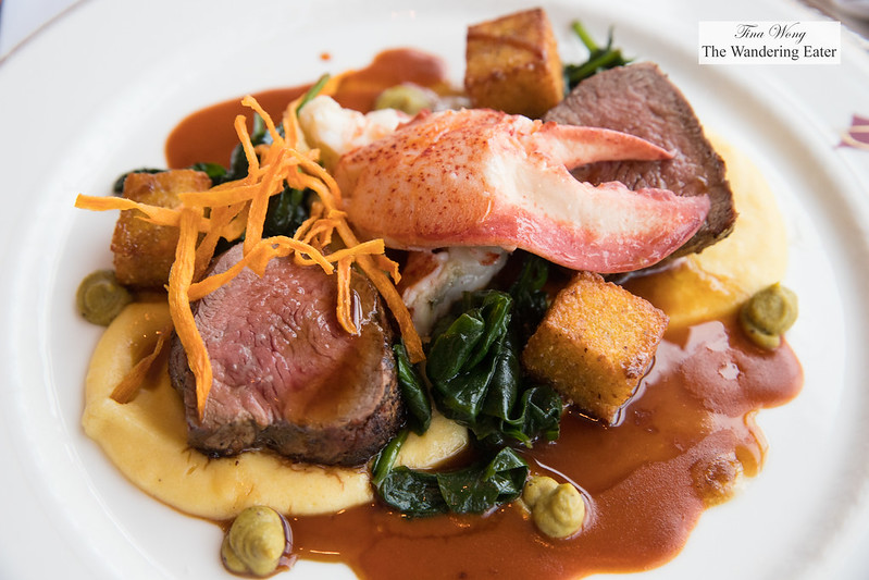 Veal filet mignon and lobster, spinach, polenta, Riopelle de l'Isle cheese, pistachios