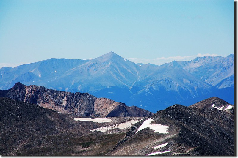 Looking southwest at Mount Elbert from the summit of Quandary Peak
