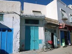 Townscape of blue doors in Keirouan