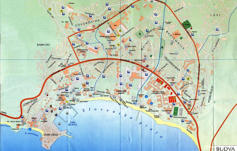 Подробная карта Будвы