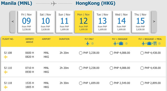 Cebu Pacific Pay Day Fly Day Sale Manila to Hong Kong