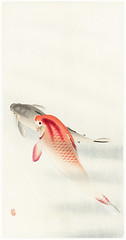 Two carp (1900 - 1930) by Ohara Koson (1877-1945). Original from the Rijks Museum. Digitally enhanced by rawpixel.