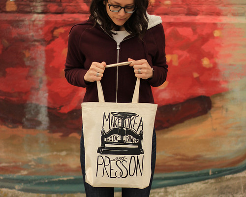 My favorite bag, used to carry all your books to the post office <3. Artist Crystal Shaulis, Lake Michigan Book Press