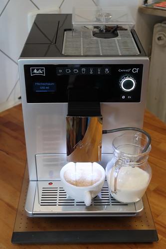 Erster Cappuccino (noch mit Standardeinstellung)