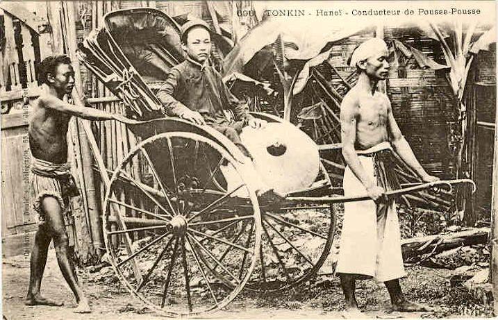 Postcard showing a jinricksha in Hanoi, French Indochina (present-day Vietnam).