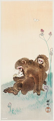 Two monkeys (1900 - 1945) by Ohara Koson (1877-1945). Original from the Rijks Museum. Digitally enhanced by rawpixel.