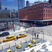 Yellow Cabs at W 13th Street at the Corner of Washington St as seen from the High Line in Chelsea in New York City, NY