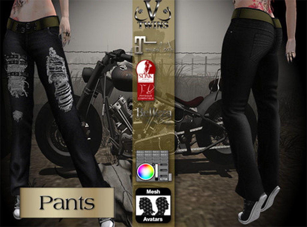 V-Twins Biker Clothes – Individual Items Mesh Pants/Jeans – True Grit Black Version (Slink, Belleza & Maitreya)