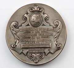 1911 Exposicion Industrial del Centenario Medal reverse