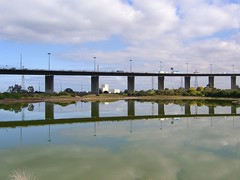Westgate Bridge reflected in Salt Lake