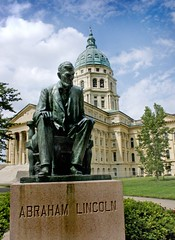 Lincoln in front of the Kansas Capitol