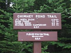 chimney pond trail signage