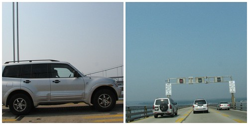 Stupid Young Driver on Cell Phone in Closed Lane on Chesapeake Bay Bridge!