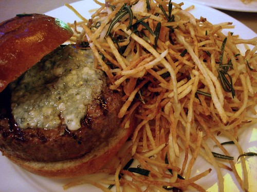 Burger w/ Roquefort Cheese & Shoestring Fries @ The Spotted Pig