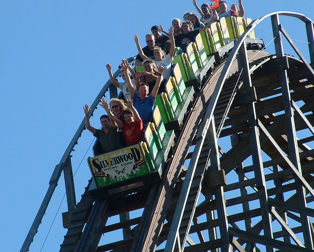 Girls flashing on roller coaster fucking animal