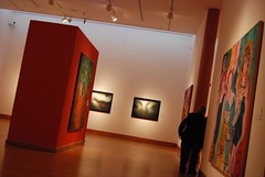 tourist attraction, art, art gallery, exhibition, hall, wall, museum, room, red, art exhibition, interior design, design, modern art,