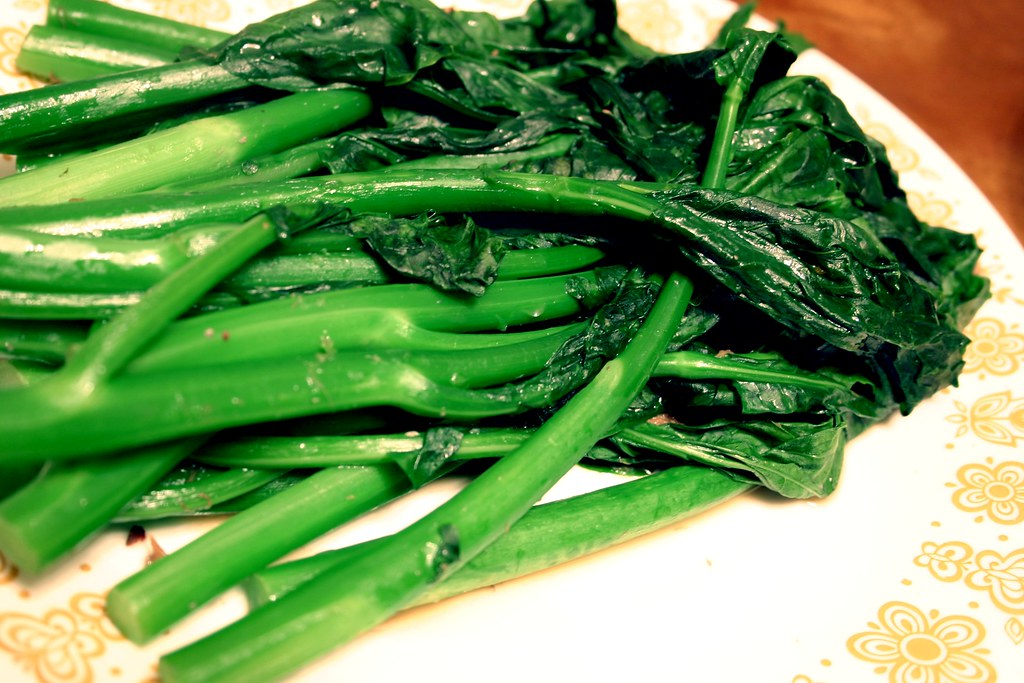 chinese broccoli kai-lan, cooked
