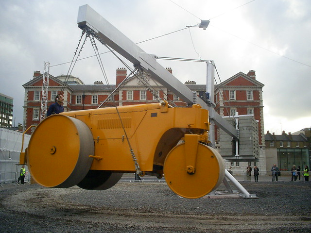 Chris Burden's Steam Roller outside Tate Britain