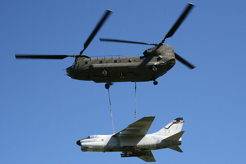 A-7 being delivered by a Chinook #2