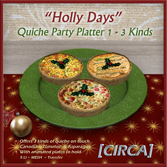 "@ Twisted Krissmuss ~ [CIRCA] - ""Holly Days"" - Quiche Party Platter 1"