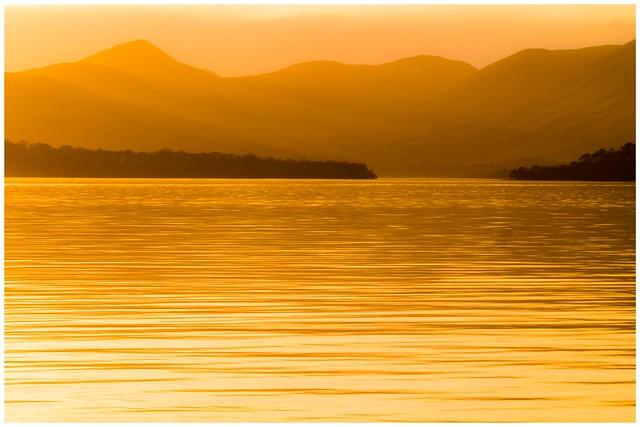 Loch lomond still water sunset