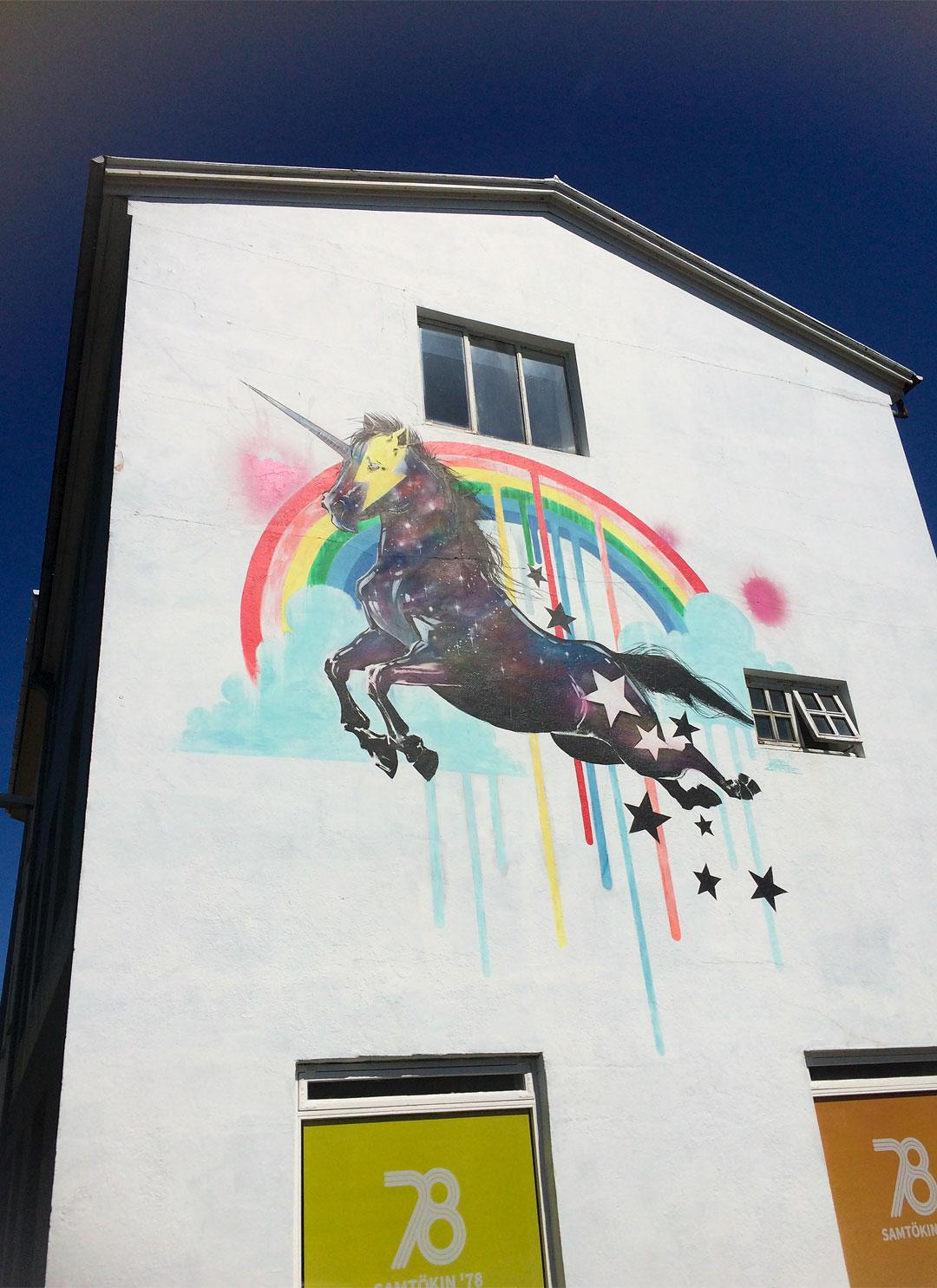 Unicorn mural in Reykjavik
