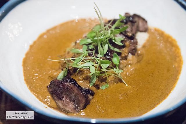 Mangalorean Duck - duck breast, gassi curry, cornmeal, black pepper