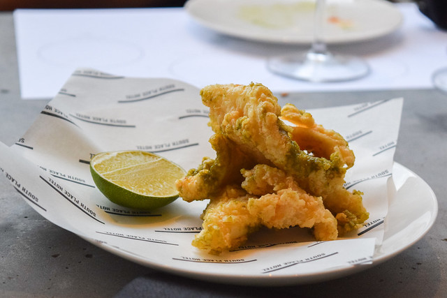 Crispy Cornish Squid with Green Peppercorn and Ginger at Angler, Moorgate #nyetimber #englishsparklingwine #london #wineterrace #bar