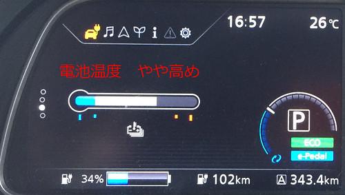 新東名 清水PA(上り)到着時 日産リーフ(40kWh)メーター 冷房ON