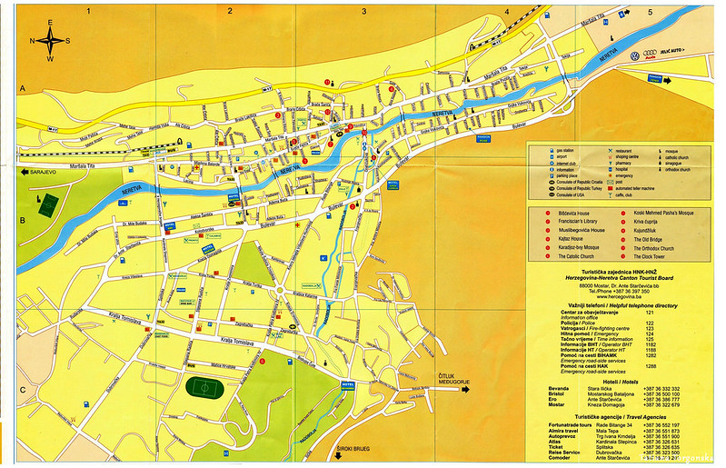 Туристическая карта Мостара на английском языке