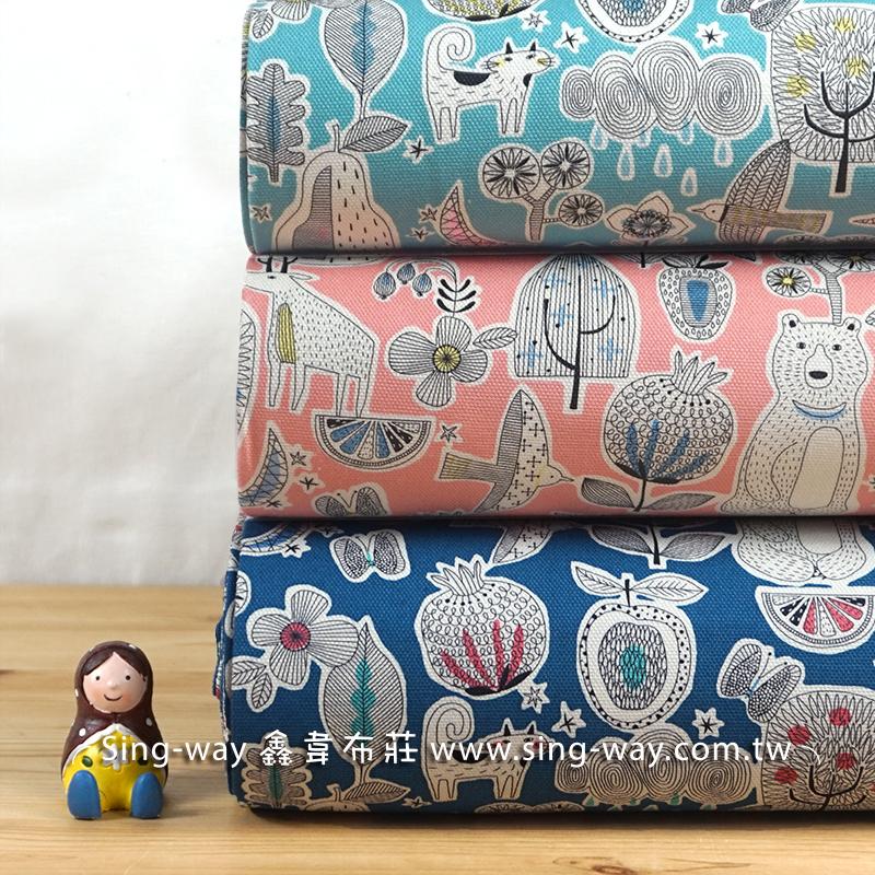 動物派對 手繪文青森林 線條 石榴 熊 麋鹿 蝴蝶 貓 花朵 鳥 手工藝DIy拼布布料 CF550658