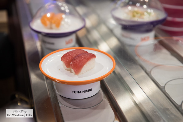 Tuna nigiri on the conveyer belt