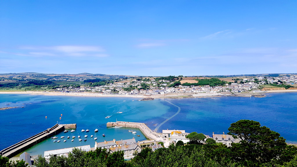 causeway and Marazion from St Michaels Mount, Cornwall 3