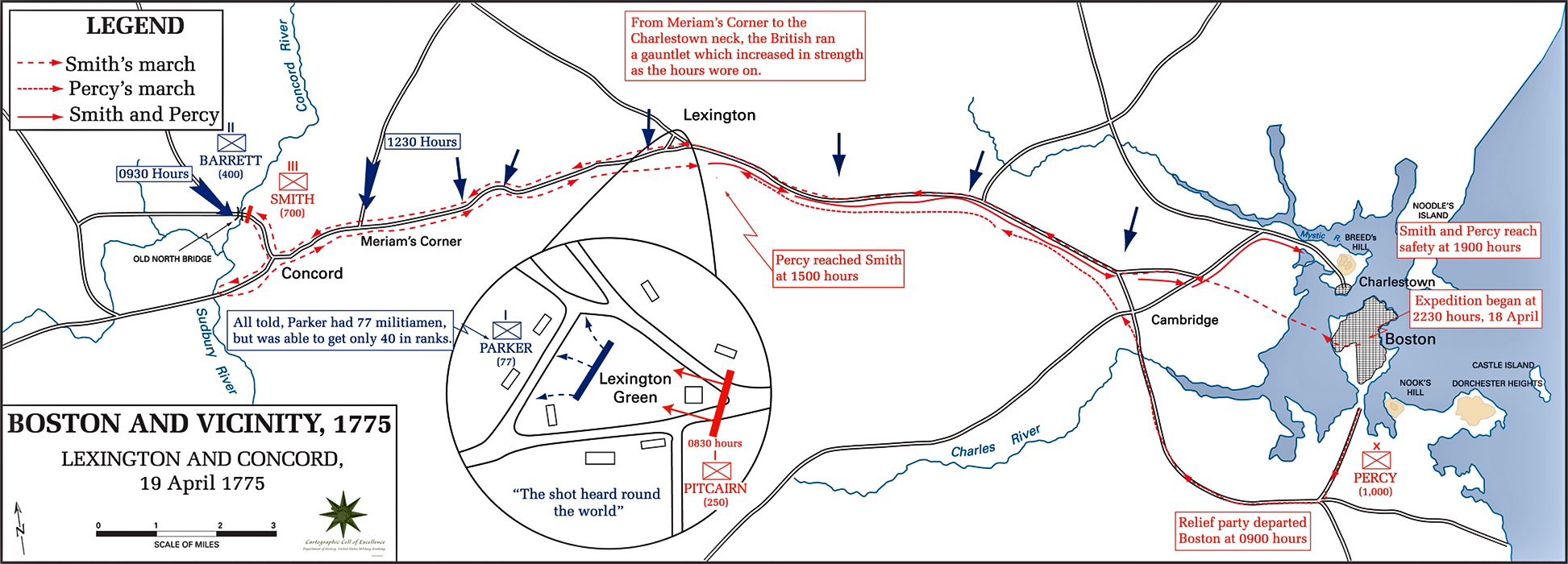 Map of the Battles of Lexington and Concord, April 19, 1775.