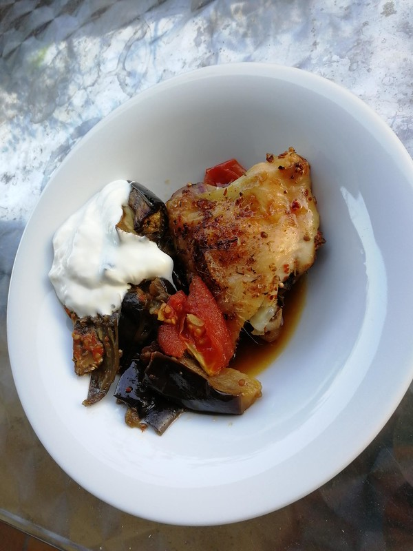 Chicken with eggplant, chili, cumin, coriander and Joghurt