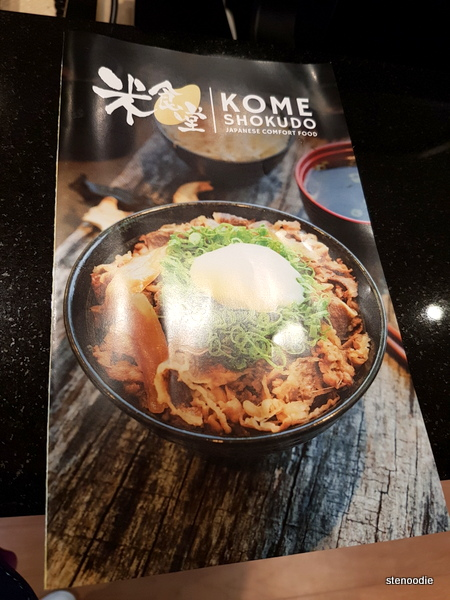 Kome Shokudo Japanese Comfort Food menu cover