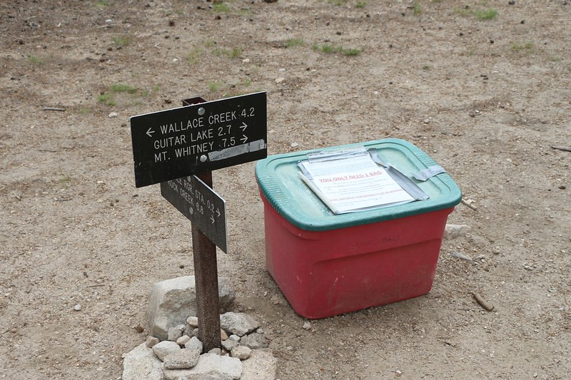 I came across the plastic bin full of Wag Bags at the trail junction near the Crabtree Ranger Station