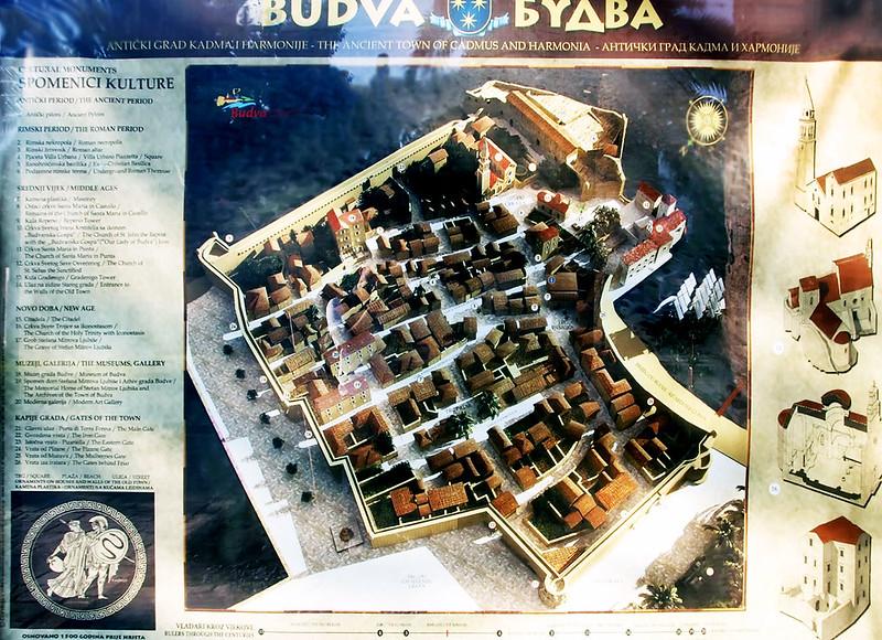 Карта Старого города Будвы с достопримечательностями