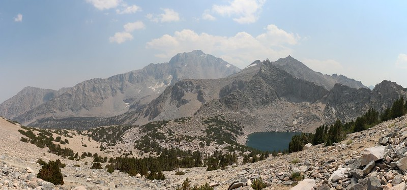 Independence Peak on the far left, University Peak center, and Big Pothole Lake from the Kearsarge Pass Trail