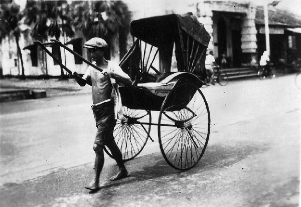 Jinrickshaw in Singapore, circa 1945